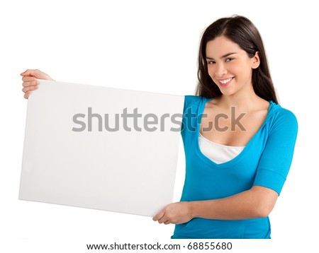 Beautiful Young Woman Holding a Blank Sign