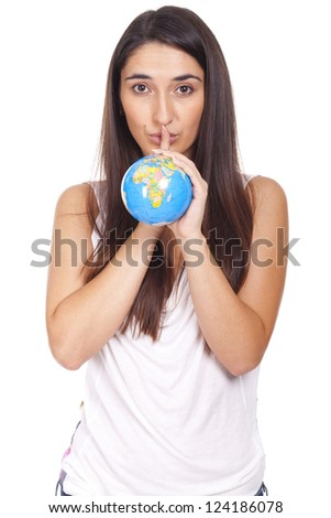 beautiful young woman holding a globe in hand