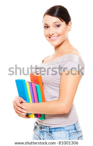 beautiful young woman holding books. isolated on white background