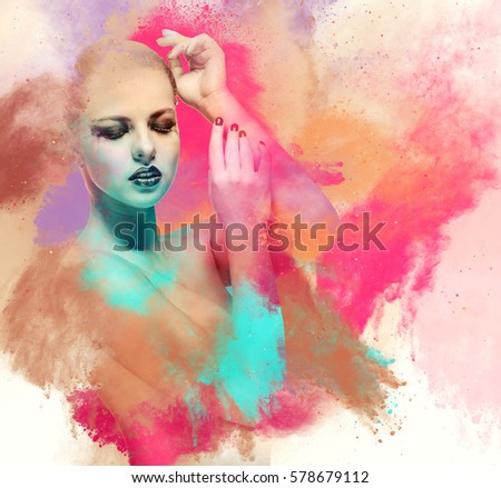 Beautiful young woman. Image combined with an digital effects. Digital art