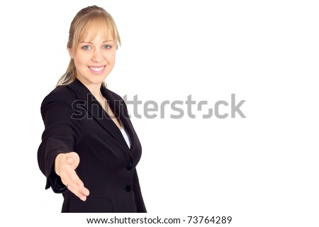 Beautiful young woman in a suit welcoming you
