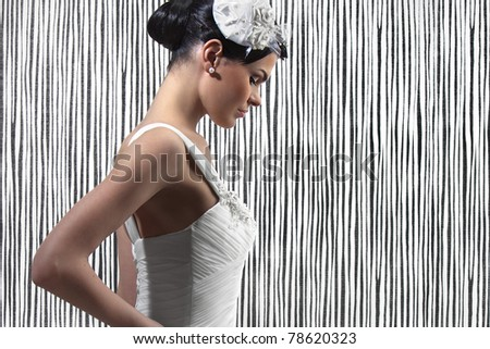beautiful young woman in a wedding dress