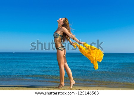 Beautiful young woman in bikini on the beach