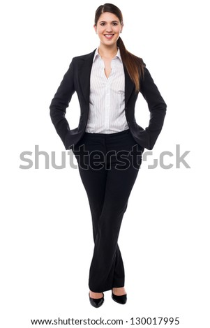 Beautiful young woman in business attire, style portrait.