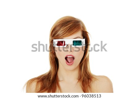Beautiful young woman in 3d cinema glasses isolated on white background