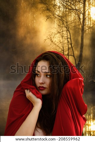 Beautiful young woman in fantasy style. Girl in a red dress. Book cover