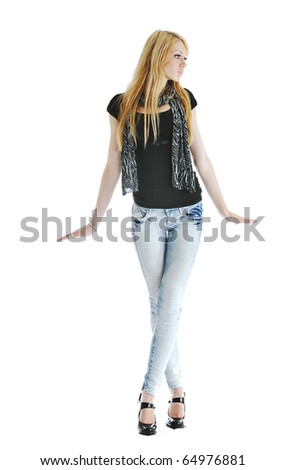 beautiful young woman in fashion clothes isolated on white background