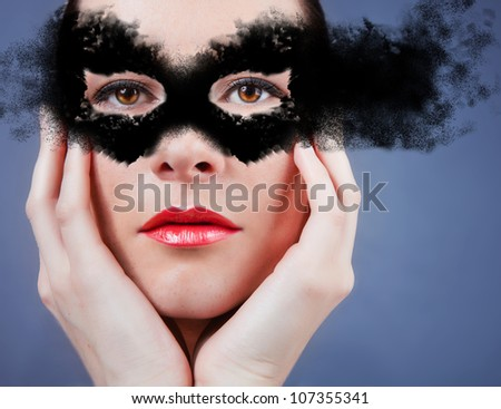 Beautiful young woman in mask. mask
