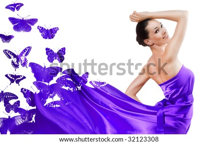 beautiful young woman in purple long dress
