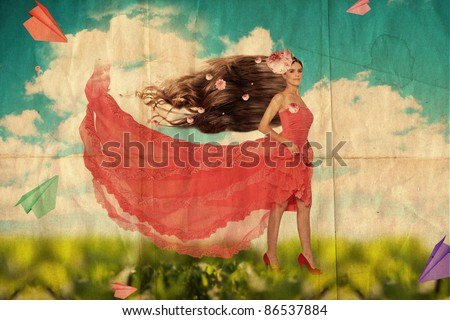 beautiful young woman in red dress, grunge texture - stock photo