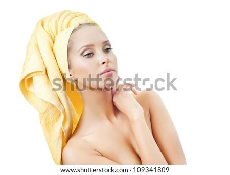 Beautiful young woman in towel