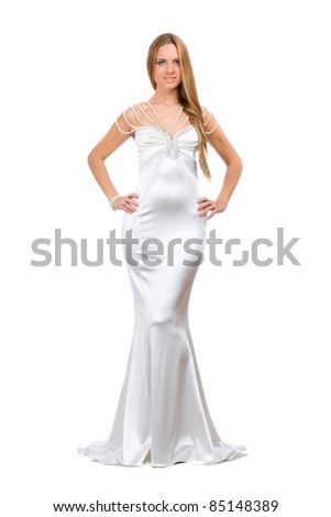 stock photo Beautiful young woman in wedding dress Isolated
