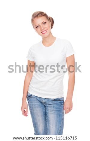 beautiful young woman in white t-shirt posing in studio - stock photo