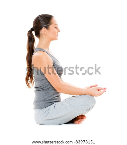 beautiful young woman is meditation. isolated on white background