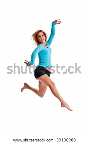 Beautiful young woman jumping isolated on white background.