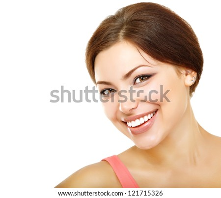 beautiful young woman looking at camera and happy smiling, isolated on white background