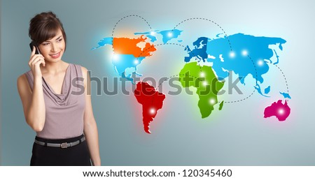 Beautiful young woman making phone call with colorful world map - stock photo
