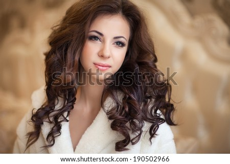 Beautiful young woman morning in bed, Portrait of cute cheerful girl in morning. Soft focus.