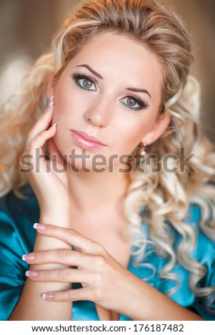 Beautiful young woman morning portrait lifestyle, pretty blonde girl at home at holiday morning, skincare and beauty model.