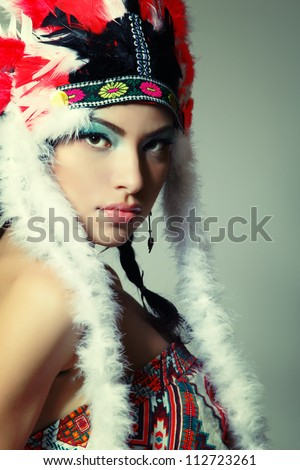 Beautiful young woman native American Indian, isolated on white background
