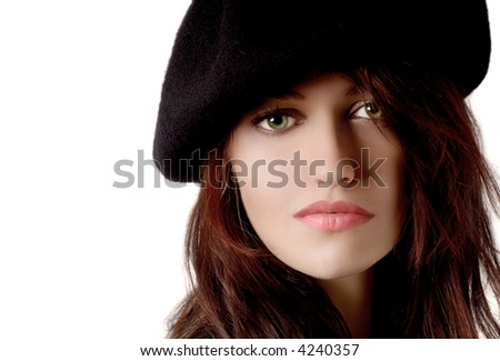 Beautiful young Woman on white with Beret
