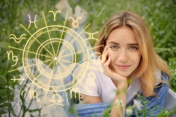 Beautiful young woman outdoors and illustration of zodiac wheel with astrological signs