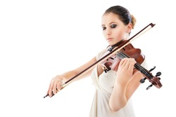 Beautiful young woman playing violin over white background