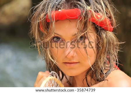 beautiful young woman portrait #35874739