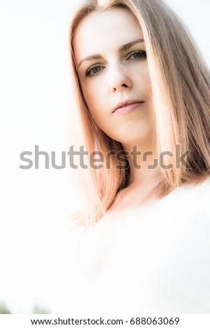 beautiful young woman portrait. ...