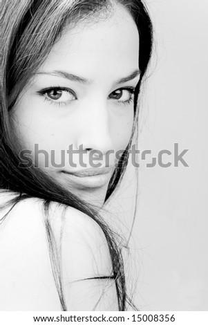 beautiful young woman portrait, bw - stock photo