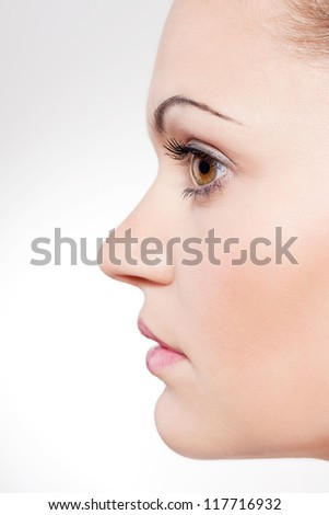 beautiful young woman portrait profile close up