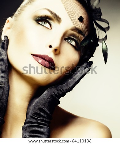 Beautiful Young Woman portrait.Vintage Styled.Retro - stock photo