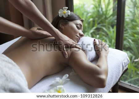 beautiful young woman relax in spa situation