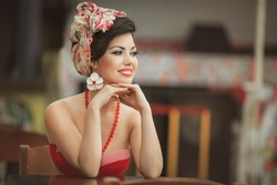beautiful young woman retro pin up portrait, summer girl at beach cafe vintage lifestyle. Female vacation Cuba. series.