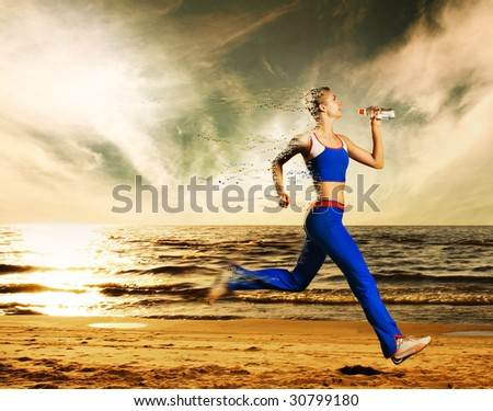 Beautiful young woman running on a beach (with dynamic distortion effect)