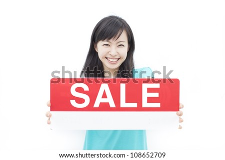 beautiful young woman showing SALE sign, isolated on white background