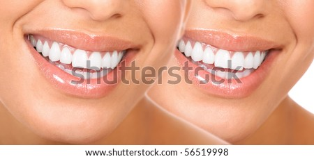 Beautiful young woman smile and teeth.