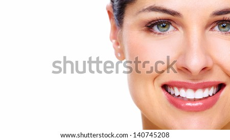 Beautiful young woman smile Dental health background