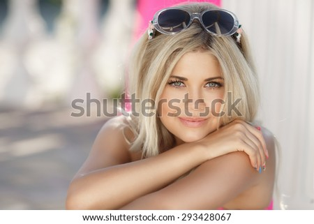 Beautiful young woman smiling outdoors, happy girl summer portrait, pretty female at beach vacation, happy woman face close up, beauty girl outdoor portrait, series