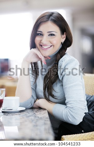beautiful young woman student portrait while relax on coffee break
