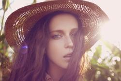 Beautiful young woman. Sunny lifestyle fashion portrait