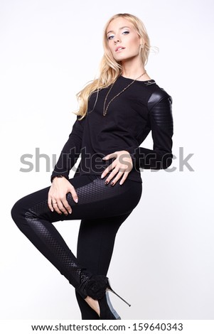 0ae881e3c5 Blonde model wearing black leather pants Free Images and Photos ...
