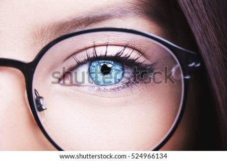 Beautiful young woman wearing glasses. Close-up shot #524966134