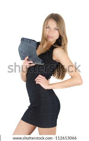 beautiful young woman with a shoe on white