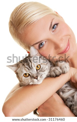 Beautiful young woman with adorable kitten