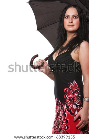 Beautiful young woman with an black umbrella