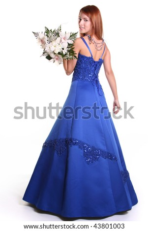 beautiful young woman with blue dress