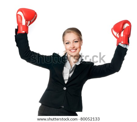 beautiful young woman with boxing gloves on white background - stock photo