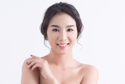 Beautiful Young Woman with Clean Fresh Skin , beauty and spa