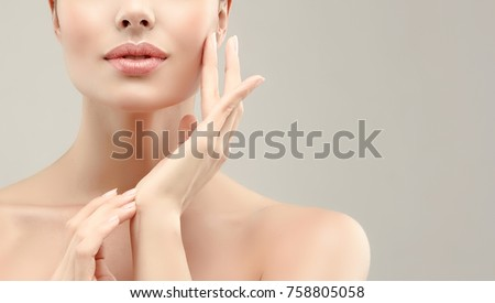Beautiful young woman with clean fresh skin  .Girl  beauty face care. Facial  treatment   . - Shutterstock ID 758805058